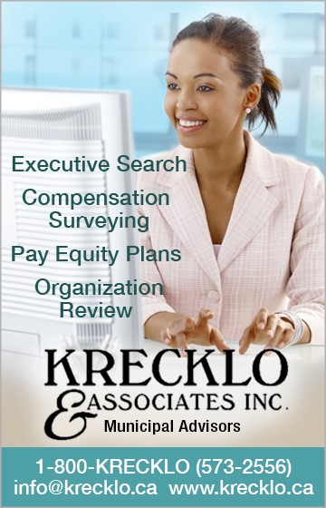Ad: Executive Search, Compensation Surveying, Pay Equity Plans, Organization Review - Krecklo & Associates Inc - Municipal Advisors