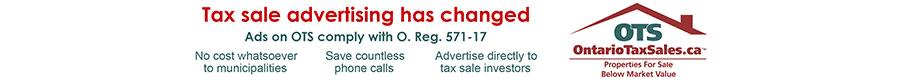 Advertisement for OTS OntarioTaxSales.ca