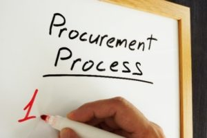 whiteboard with procurement processes on it