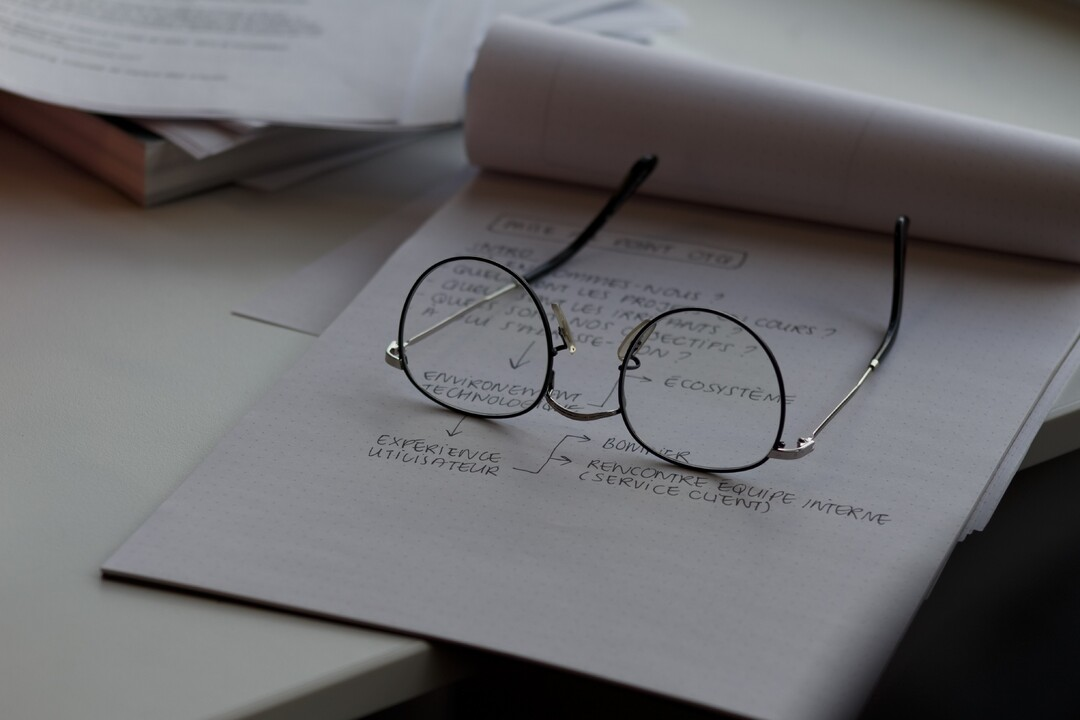 eye glasses on a paper